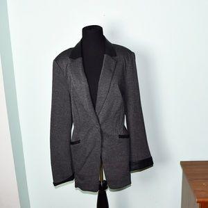 Jackets & Blazers - Adorable Dark Grey and Black Trim Blazer